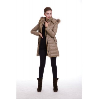 Piumini Moncler Donna Lunga Outerwear Apricot Outlet Toscana