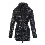 Piumini Moncler Donna Lungo Nero Lucido Online Outlet